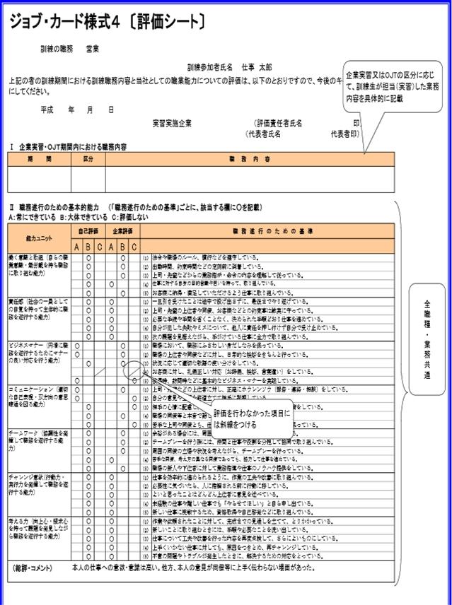評価シートの参考例